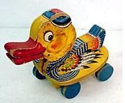Vtg Fisher Price Wooden Pull Toy Gabby Duck 1952-1953 767 Made In Usa Htf Ra