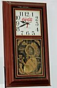 Vintage Style Coca-cola Wall Clock, Lady On Glass