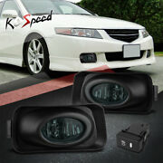 Smoked Lens Front Bumper Driving Fog Lights+bezel+switch For 04-05 Acura Tsx Cl9