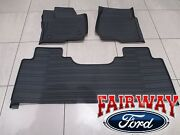 17 Thru 21 Super Duty Oem Ford Tray Style Molded Floor Mat Set 3pc Extended/crew