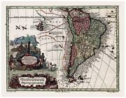 Old Vintage Map Of South America Seutter 1744