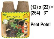 Jiffy Jp322 22 Pack 3 Round Seed Starting Sphagnum Peat Pots - Quantity 12