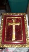Religious Picture Deep Frame With Jesus On Brass Cross Concave Glass Velvet