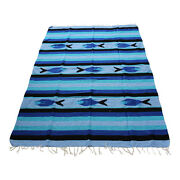 New Blue Sky And Black Mexican Fish Theme Floor Rug Large Blanket Throw Yoga