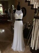 Nwt White Two Piece Abbi Vonn By La Femme Prom/pageant/formal Dress/gown 0828