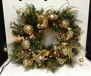 Frontgate Shades Of Gold Christmas 32 Wreath Pre Decorated Door Centerpiece