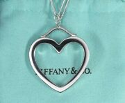 And Co 18k White Gold Elsa Peretti Large Open Heart Pendant Link Necklace