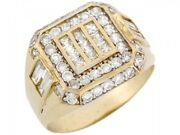 10k Or 14k Solid Yellow Gold Large Buckle Cluster Stylish Mens Ring