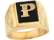 10k Or 14k Real Gold 12x10mm Rectangle Onyx Letter P Fancy Mens Initial Ring