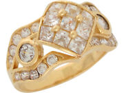 10k Or 14k Yellow Gold White Cz Unique Beauty Wide Band Ladies Ring
