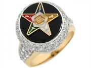 10k Or 14k Two Tone Gold Cz Cluster Onyx Enameled Eastern Star Ladies Ring