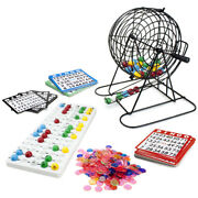 Deluxe Bingo Set - Cards Chips Board Cage And Balls For Game Nights Parties Events