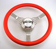 553red V8 Red Stainless Steel Banjo Steering Wheel Red V8 Horn Button Ford Chevy