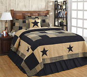 3 Piece King Jamestown Black And Tan Quilted Bedding Set Country Primitive