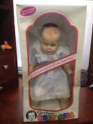 Vintage Gerber Baby 17 Doll 1979 In Blue/white Gingham Moving Eyes With Box