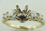 14k Yellow Gold Magic Glo Diamond Engagement Semi Mount Ring 6 3/4 New With Tag