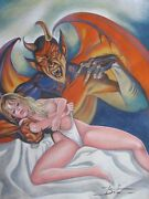 Original Pulp Illustration Mexican Cover Art Painting Pinup Girl Female Woman