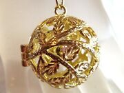Pretty Vintage Gold Plated Ball Locket Flower Necklace Estate Jewelry