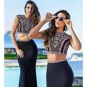 440 Nwt Black Two Piece Jvn By Jovani Prom/pageant/formal Dress/gown 34015 2