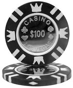 25 Ct Black 100 One Hundred Dollars Coin Inlay Series 15 Grams Poker Chips