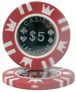 25 Ct Red 5 Five Dollars Coin Inlay Series 15 Grams Poker Chips