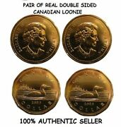 Pair Of Real Double Sided Canadian Loonie Dollar 1 Two Headed 1 Two Tailed Coin