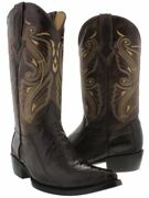 Menand039s Chocolate Brown Genuine Ostrich Leg Skin Western Cowboy Leather Boots