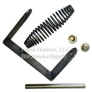 Bbq Smoker Stainless Spring Handle Assembly 1/2 Rod Bracket Caps Uds Lid Parts
