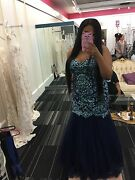 Val Stefani Prom Dress 2855rx Royal Blue Mermaid Beaded Prom Gown Sz 14 Altered