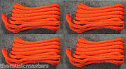 4 Orange Double Braided 1/2 X 15and039 Ft Boat Marine Hq Dock Lines Mooring Ropes