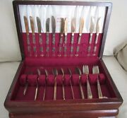 Holmes And Edwards Stainless Steel Floral Flatware Set In Chest Japan Tongs