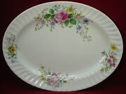 Royal Doulton China Arcadia H4802 Brown Stamp Oval Meat Serving Platter 16-1/4