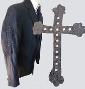 Marc Ecko Embroidered Cross Patch Studs Large Black Christian Church Jesus Coat