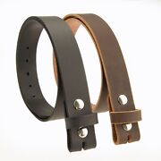 Buffalo Leather Casual Belt Strap_no Buckle_1-1/2_amish Handmade Black - Brown