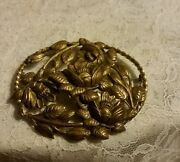 Victorian Floral Gold Filled 2 1/2 Inch Broach