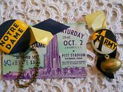 Vintage 1948 Notre Dame Football Tickets Spirit Button And Ribbon And Photographs