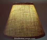 Rustic Cottage Cabin Burlap Table Light Lamp Shade Clip-on Bulb 9 Inch Cone