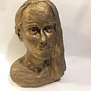 Vtg Art Pottery Clay Handmade Artist Signed Woman`s Bust Lady`s Head Sculpture