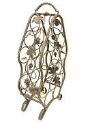 Rustic 13 Bottle Iron Wine Rack With Grape And Leaf Decor