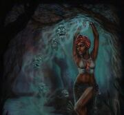 Original Pulp Illustration Ghost Horror Cover Style Art Painting Voodoo Queen