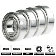 4x 6203-zz Ball Bearing 17mm X 40mm X 12mm Double Shielded Rubber Seal New