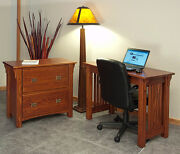 Home Office Lateral Filing Cabinet Solid Oak Mission Style 136