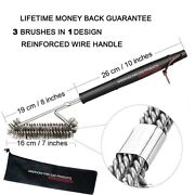 Ss Brushes Perfect For Weber, Electric,smoker And Infrared Bbq Grills + Nylong Bag
