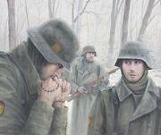 Original Ww2 Military Illustration Art Painting Wwii German Infantry Blue Div.