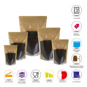 Kraft Paper Stand Up Pouches One Side Clear Stand Up Pouch/bag With Zip Lock