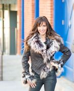 Silver Fox Fur With Nappa Lamb Coat/jacket Biker Style With Embroidered Leather
