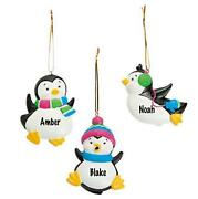Set Of 36 Personable Christmas Ornaments Holiday Penguins Gift Tags 3h Resin