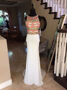 500 Nwt White Two Piece Jovani Prom/pageant/formal/wedding Dress/gown 39350 6
