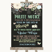 Shabby Chic Chalk Donand039t Post Photos Facebook Personalised Wedding Sign