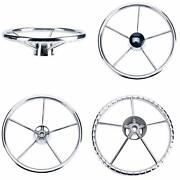 Boat Steering Wheel Stainless Steel 5 Spokes Knurling 13-1/2and039and039 For Marine Yacht
